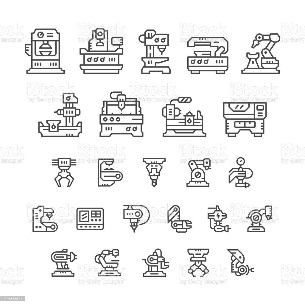 Set line icons of machine tool, robotic industry vector art illustration