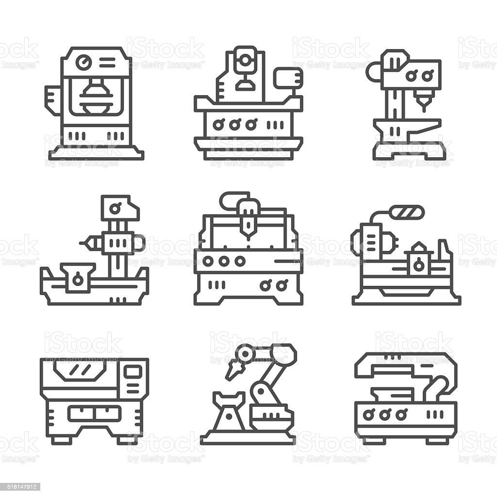 Set line icons of machine tool vector art illustration