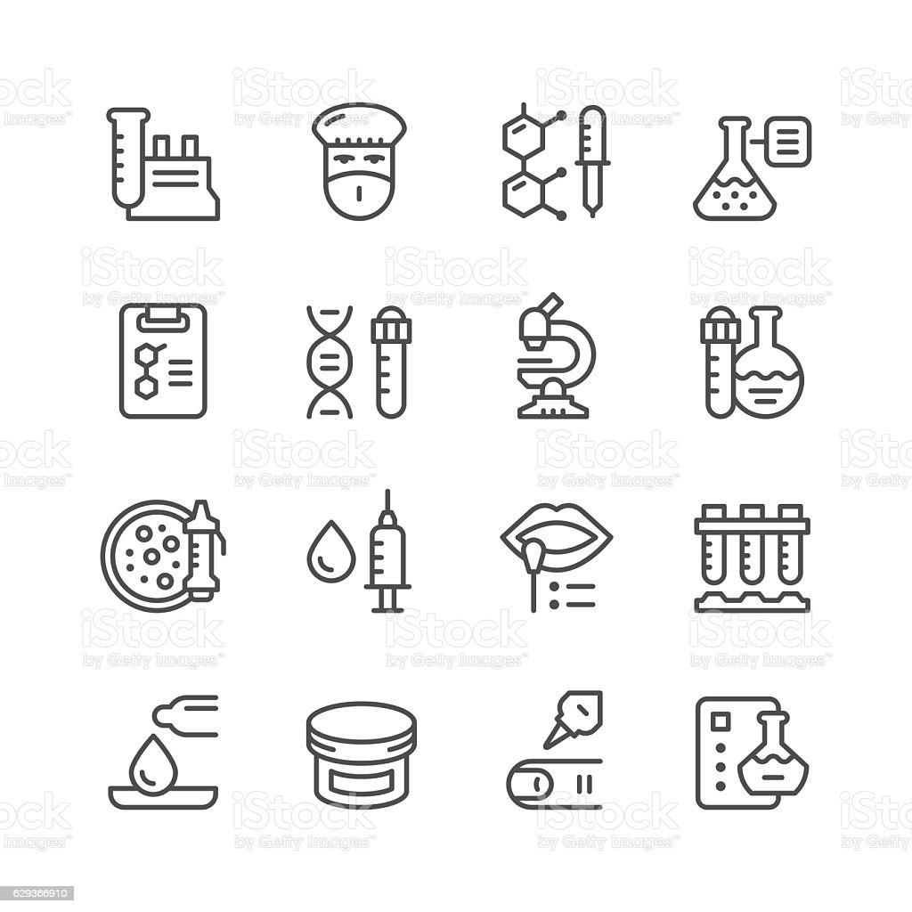 Set line icons of medical analysis vector art illustration