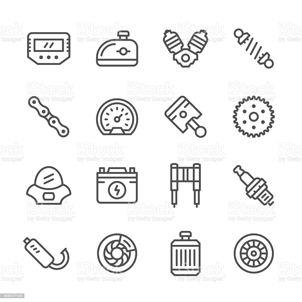 Set line icons of motorcycle parts vector art illustration