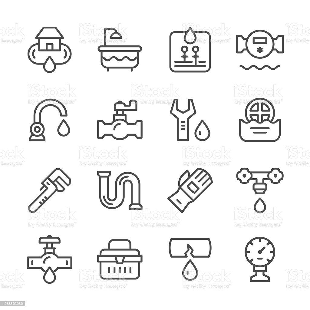 Set line icons of plumbing vector art illustration