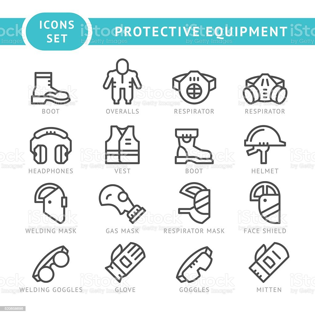 Set line icons of protecting equipment vector art illustration