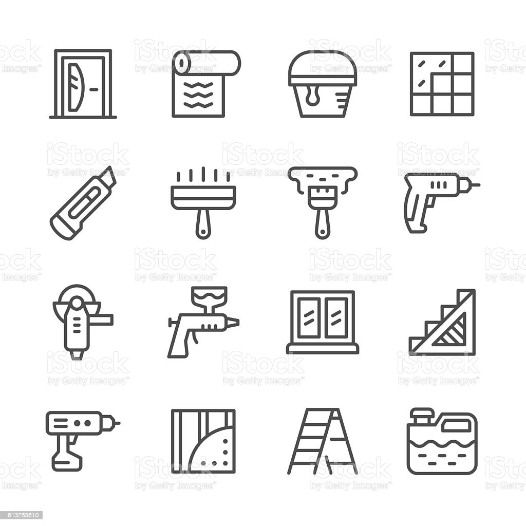 Set line icons of repair vector art illustration