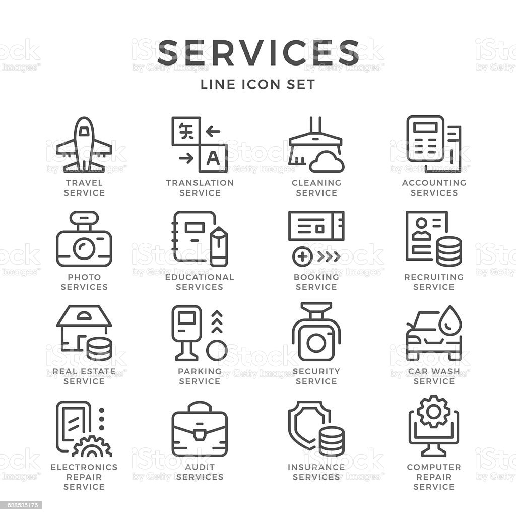Set line icons of services vector art illustration