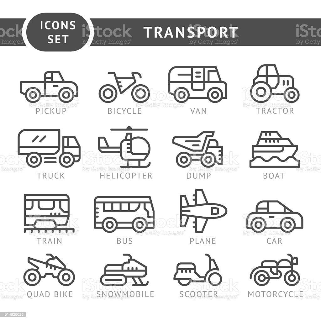 Set line icons of transport vector art illustration