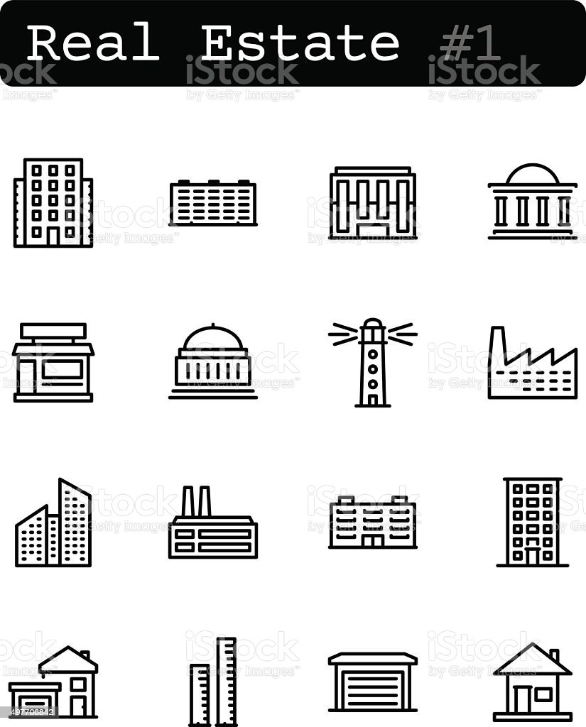Set line thin icons. Vector. Real estate vector art illustration