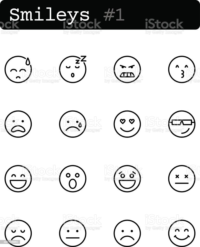 Set line thin icons. Vector. Smileys vector art illustration