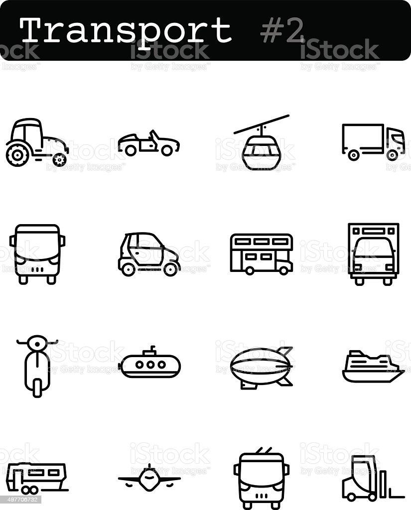 Set line thin icons. Vector. Transport vector art illustration