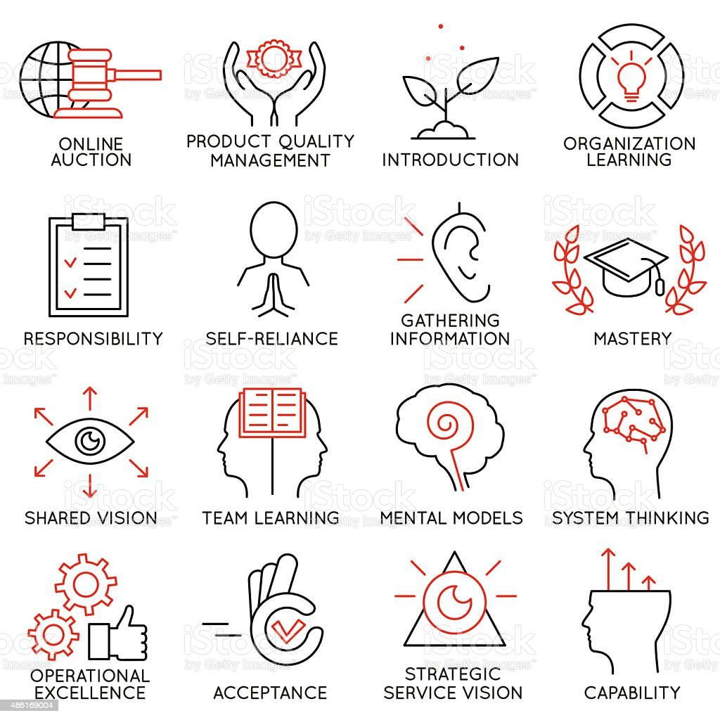 Set linear icons of business management, strategy - part 6 vector art illustration