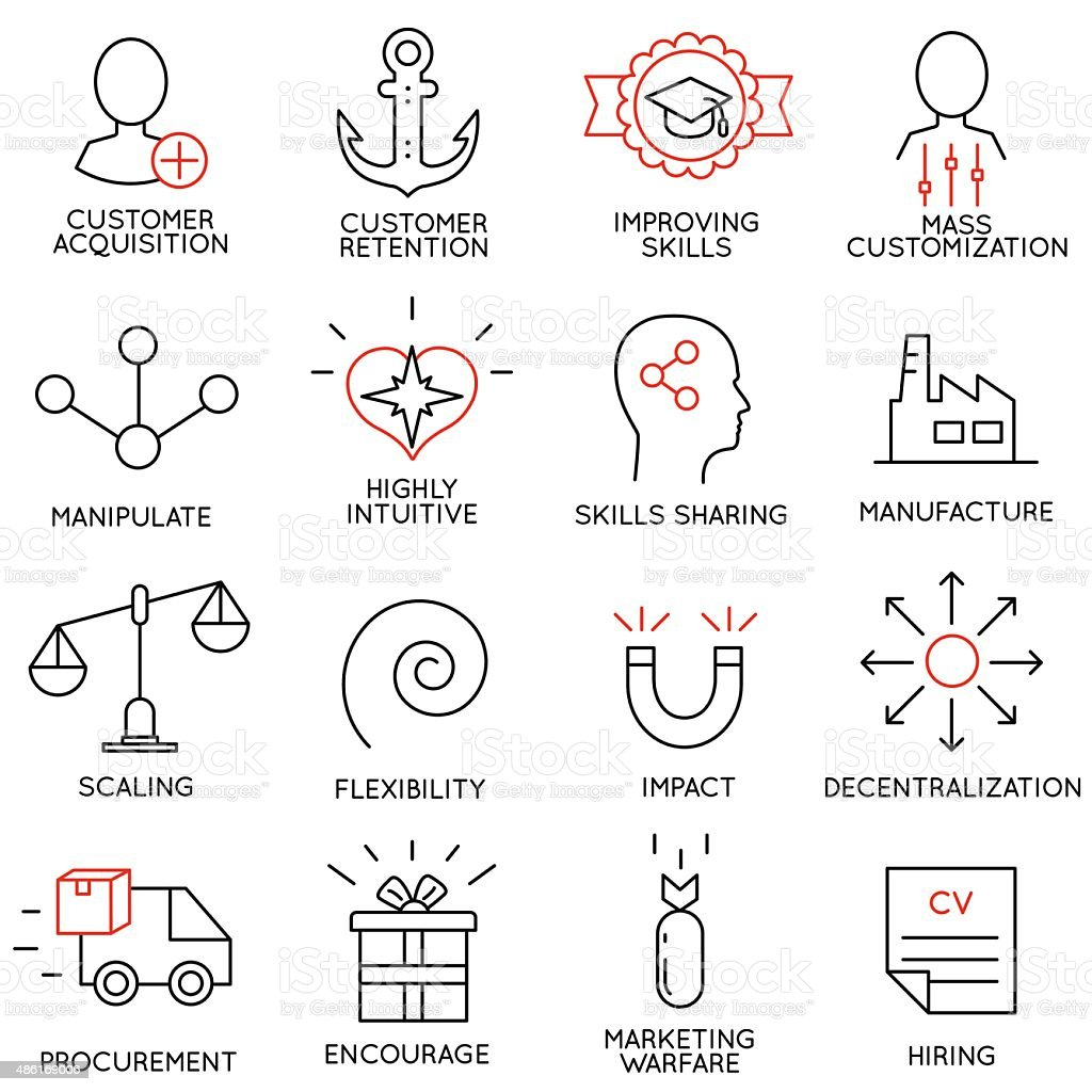 Set linear icons of business management, strategy - part 7 vector art illustration