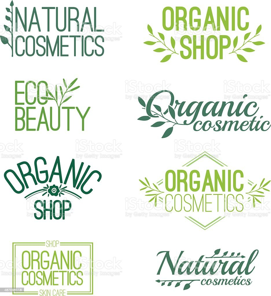 Set  logos, stamps, stickers for organic and natural cosmetics. vector art illustration