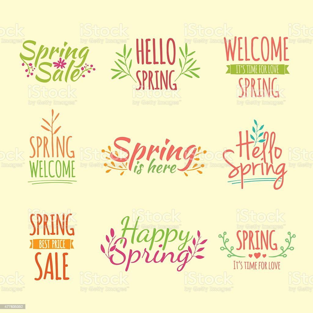 Set logos with the text of the spring and floral. vector art illustration
