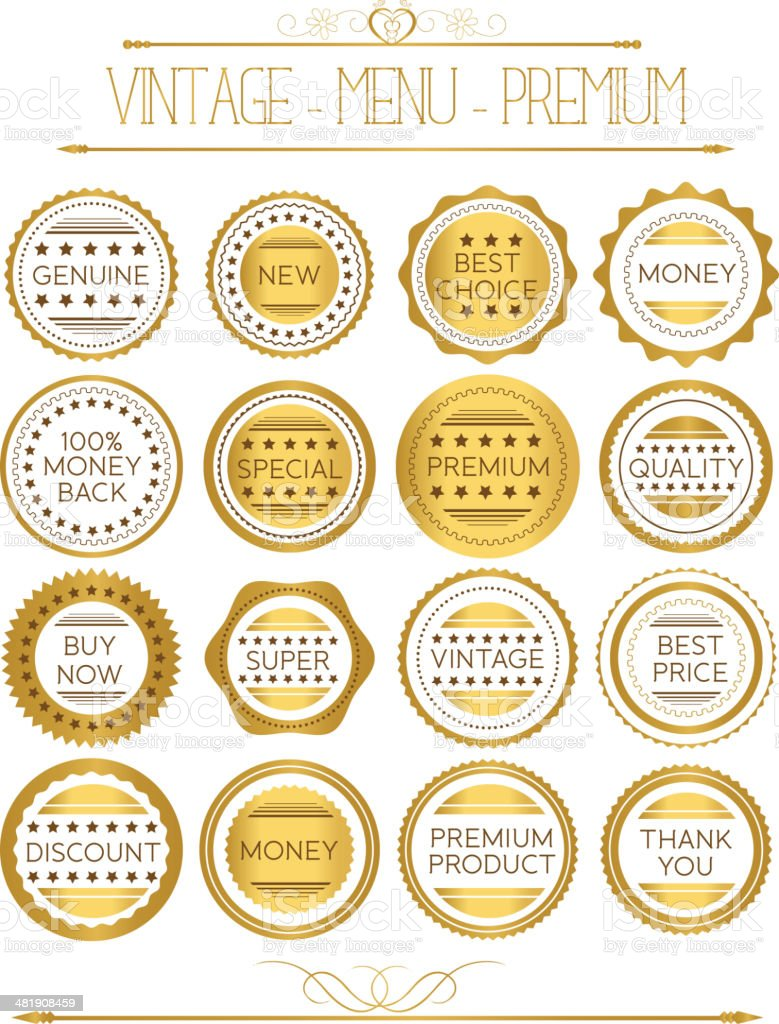 Set luxury labels and ribbons royalty-free stock vector art