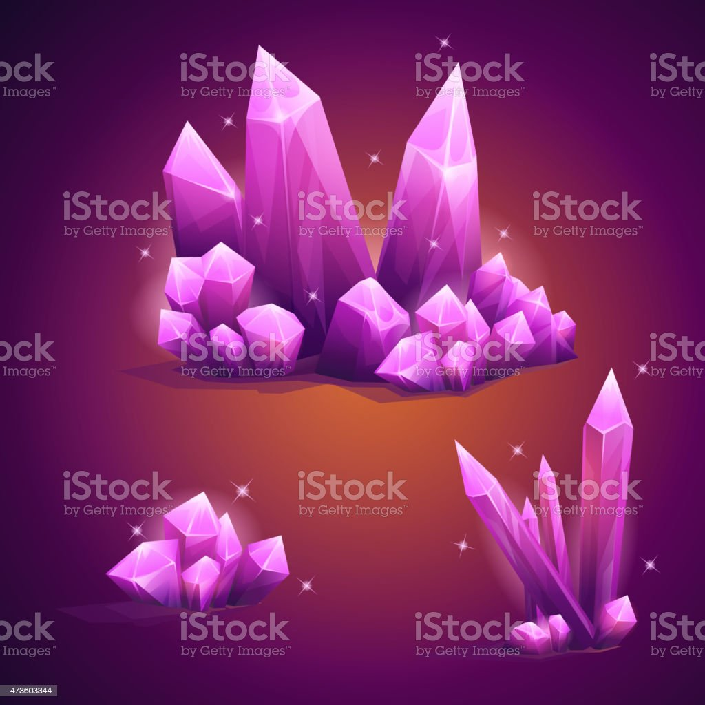 Set magical crystals of various shapes vector art illustration
