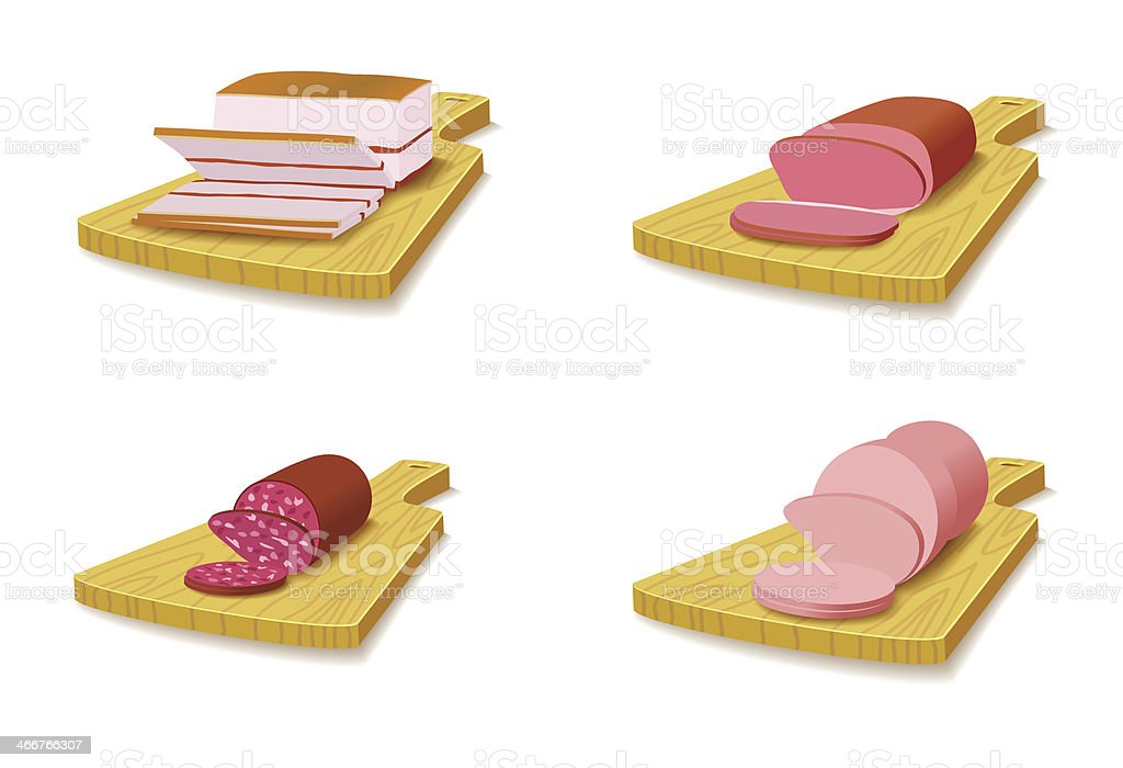 Set meat products on the cutting board. royalty-free stock vector art