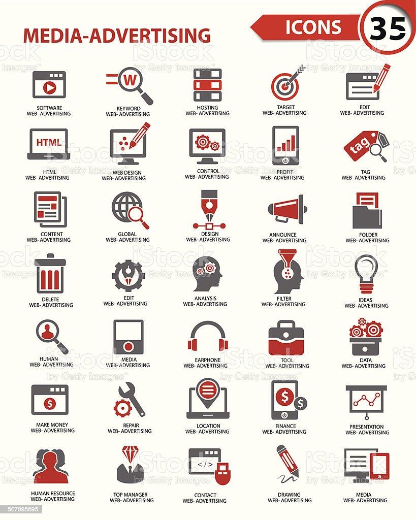Set Media - Advertising icons,vector vector art illustration