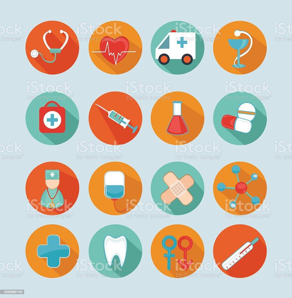 Set medical flat icons. vector art illustration