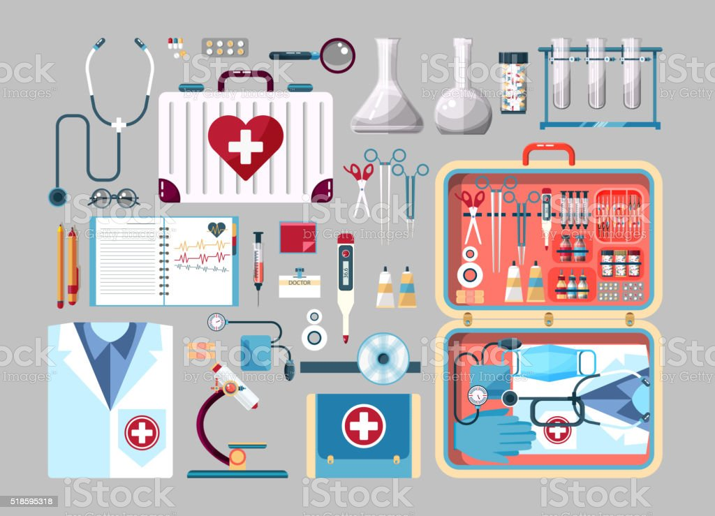 Set medician illustration vector art illustration