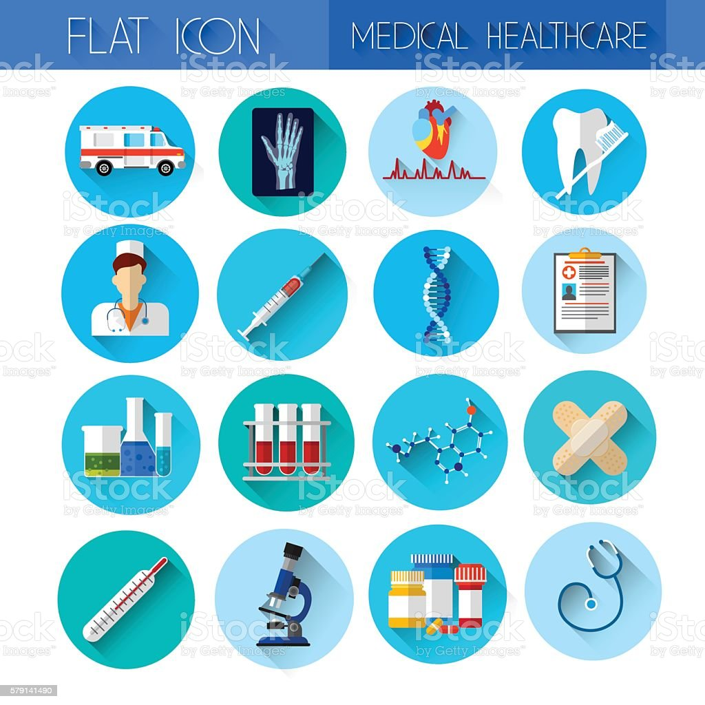 Set Medicine Icon Medical, Chemical Equipment Collection vector art illustration