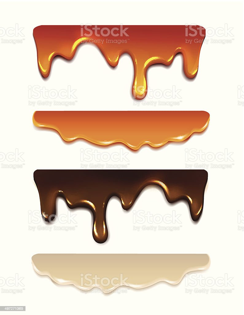 Set Melting chocolate, milk cream, liquid caramel, honey. Vector vector art illustration
