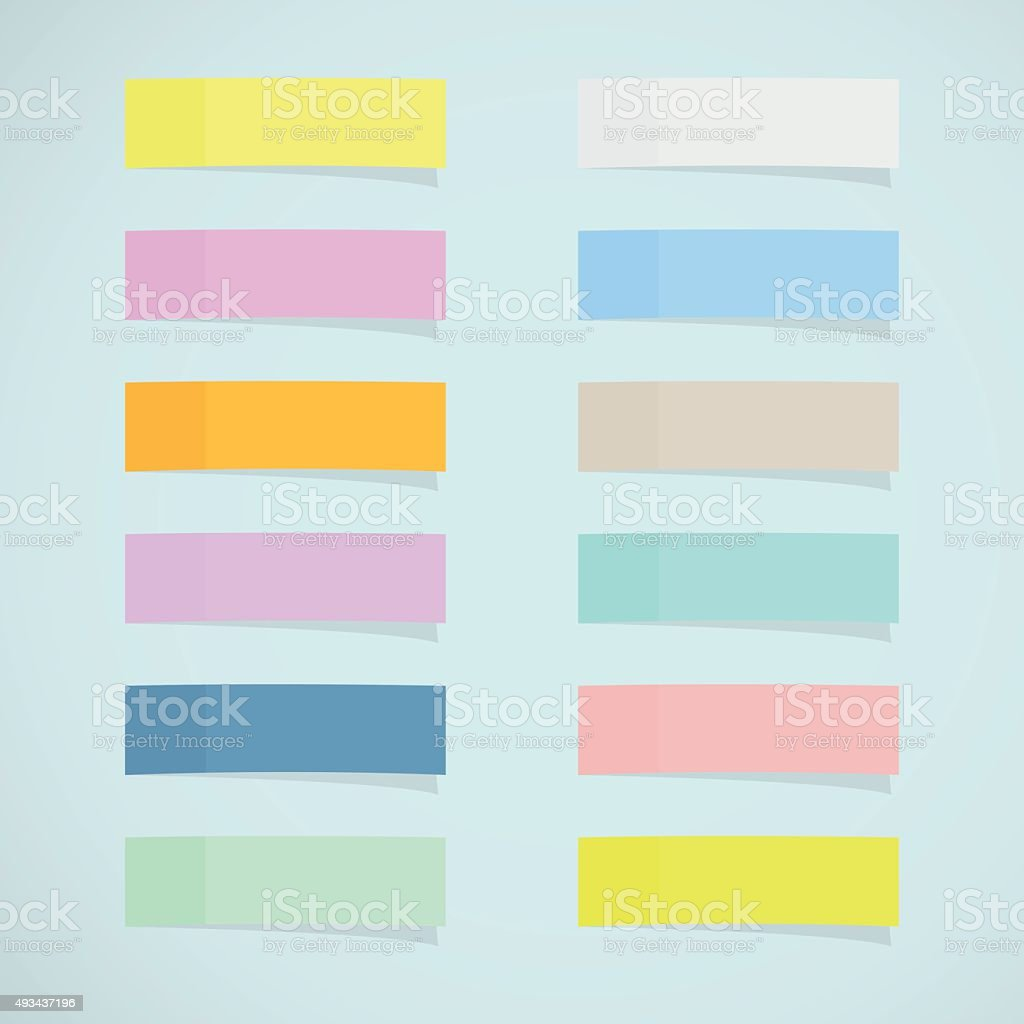 Set: mini sticky notes vector art illustration
