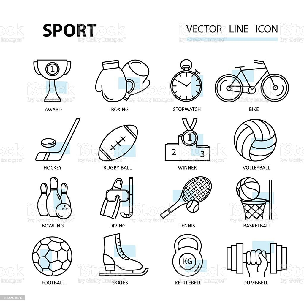 Set modern thin line web icons on sports themes. vector art illustration