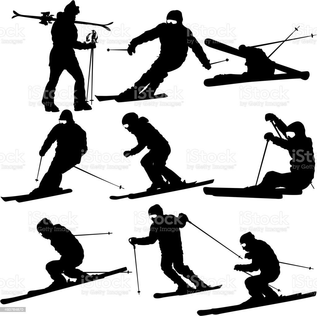 Set mountain skier   speeding down slope. Vector sport silhouett vector art illustration