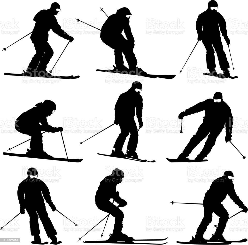 Set mountain skier  speeding down slope. Vector sport silhouette vector art illustration