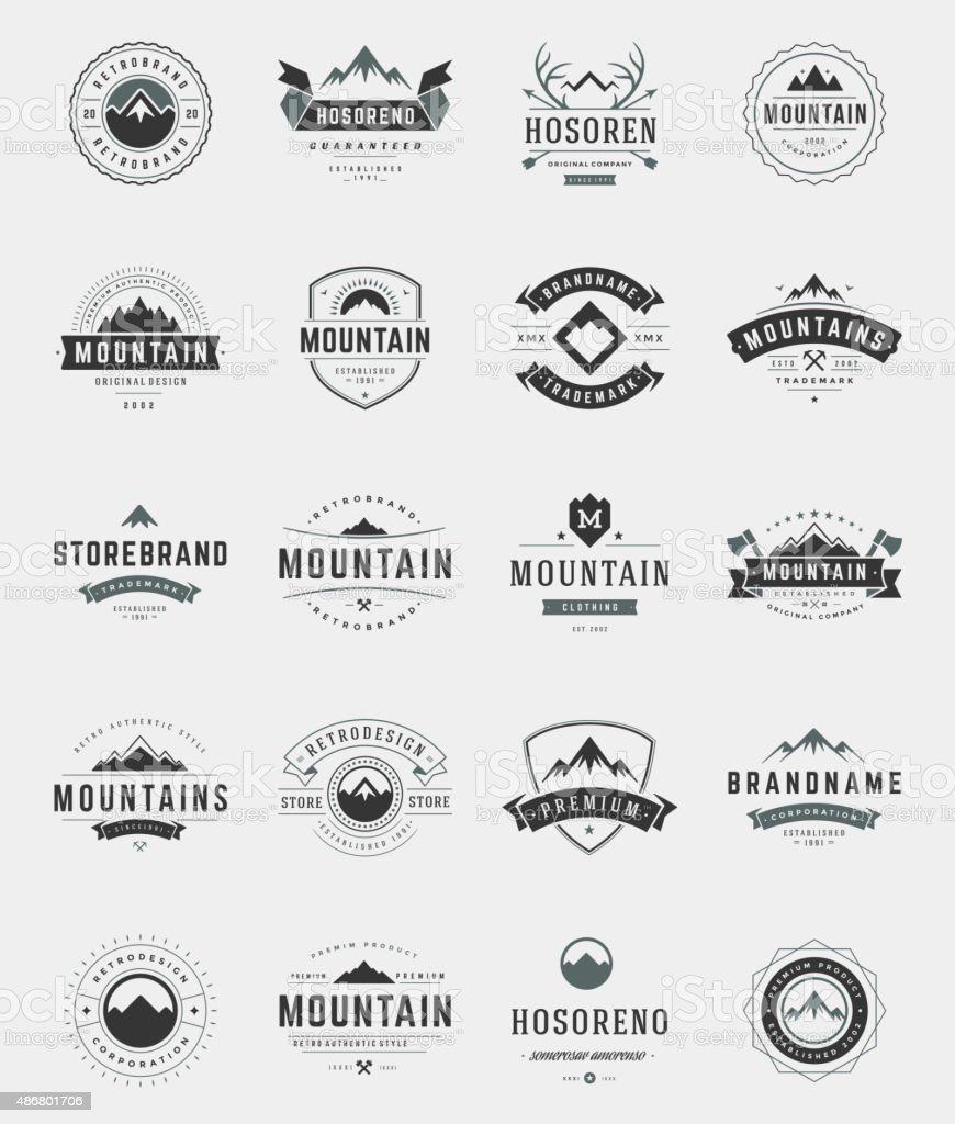 Set Mountains Logos, Badges and Labels vector art illustration