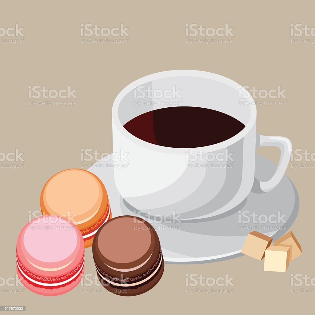 Set. Multi-colored macaroons and white cup vector art illustration