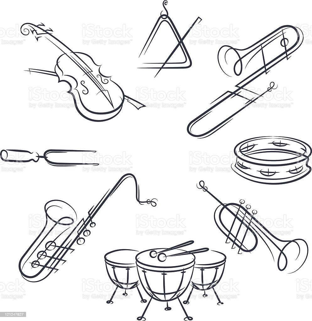 set musical instrument royalty-free stock vector art