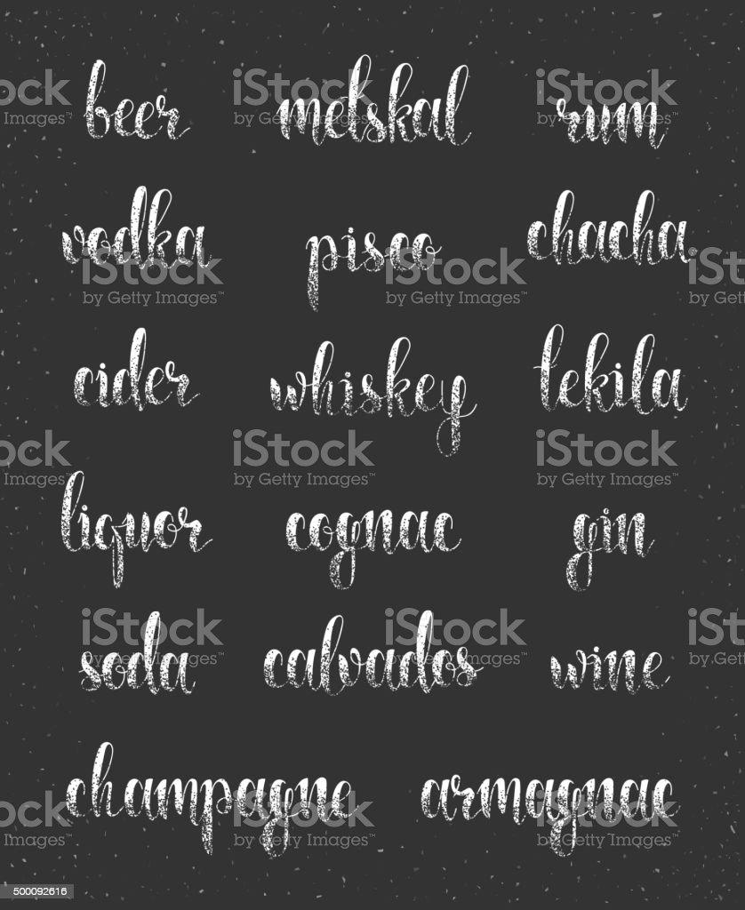 Set names of species alcohol in calligraphy handmade design menu. vector art illustration
