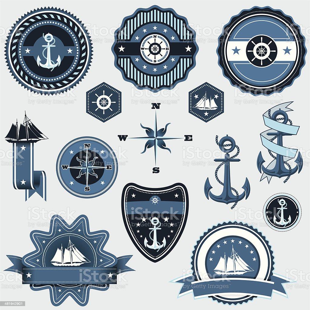 Set Nautical Classic Icons & Badges vector art illustration