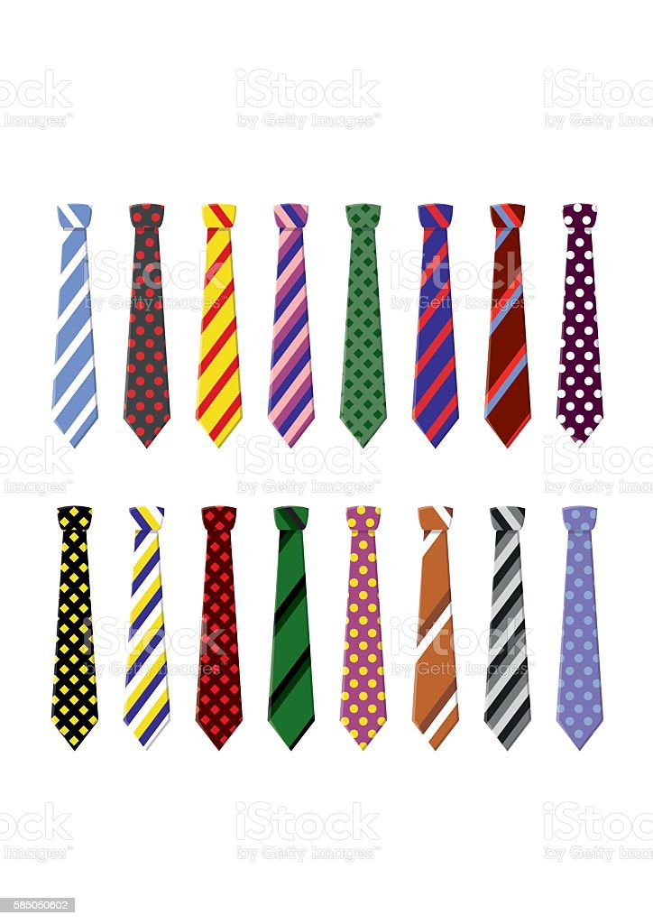 Set neck ties for business and casual attire. vector art illustration