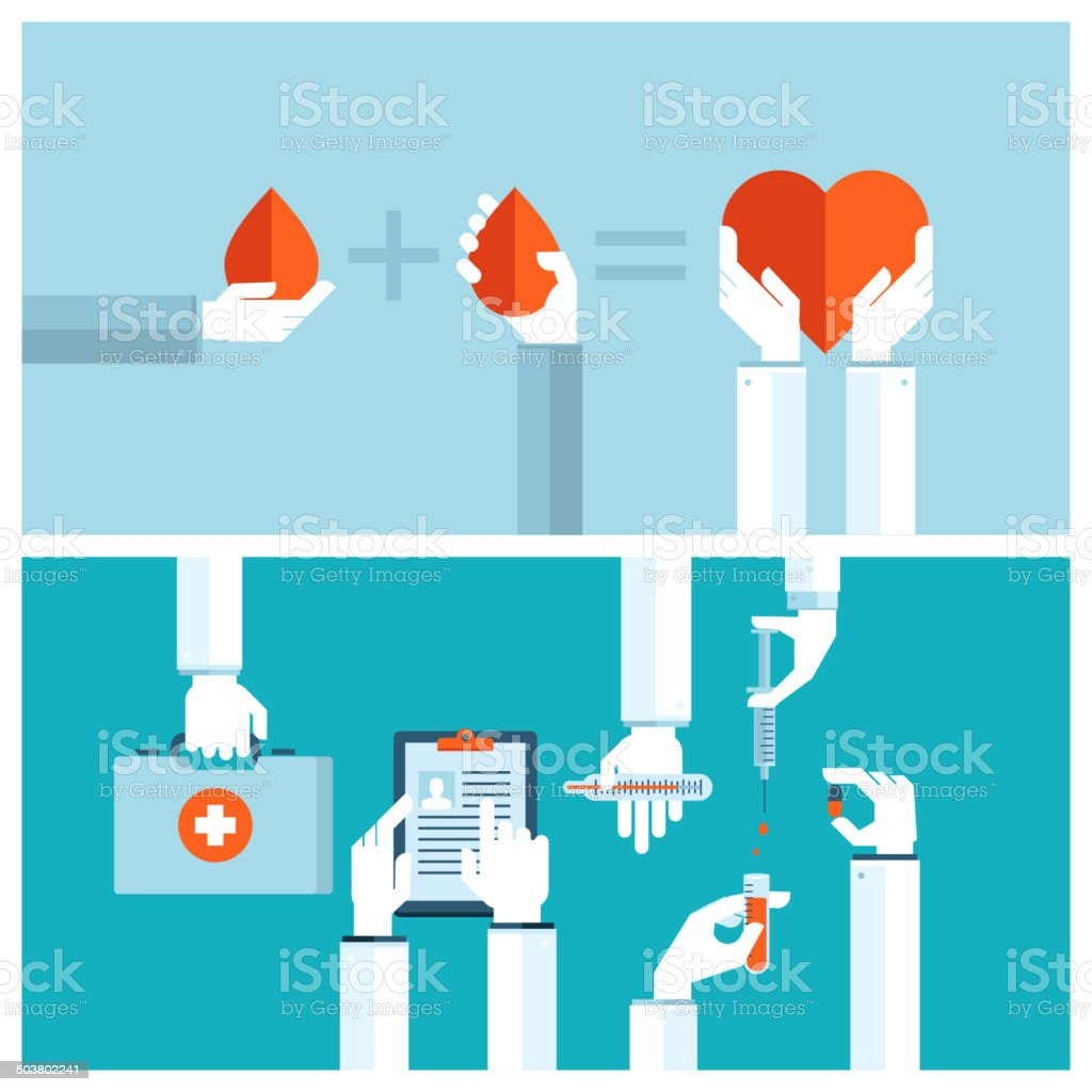 Set od flat designconcepts for blood transfusion and medical care stock photo