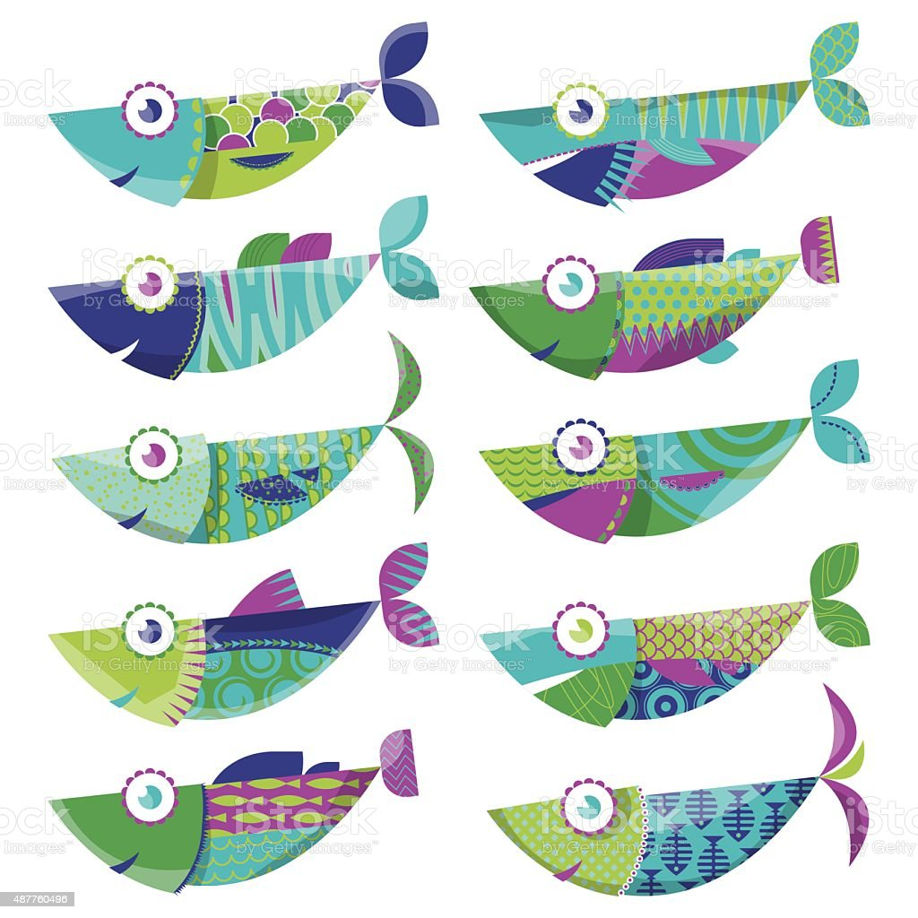 Set of 10 multi-colored decorated fishes. Sardines. vector art illustration