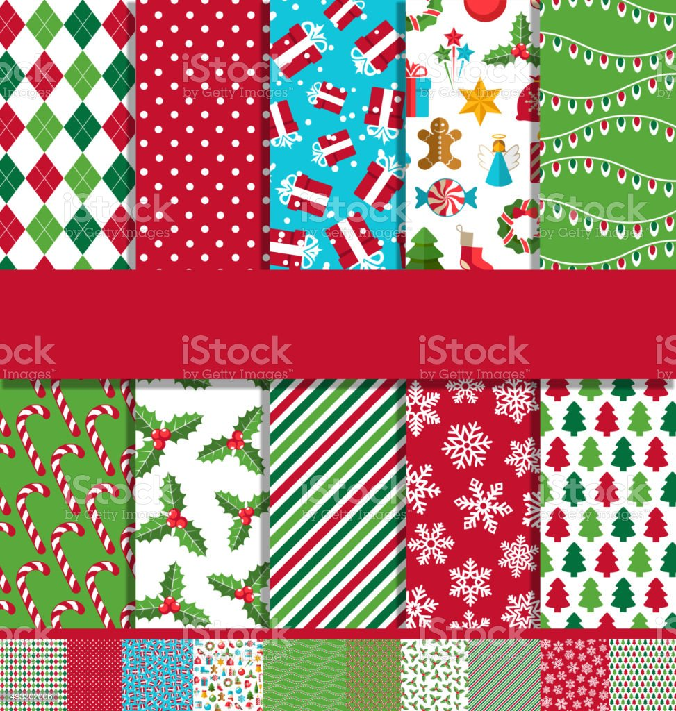 Set of 10 Seamless Bright Christmas Patterns vector art illustration