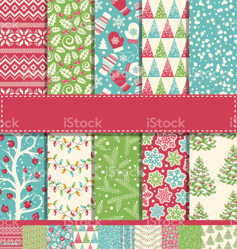 Set of 10 Seamless Bright Fun Christmas Winter Holidays Patterns vector art illustration