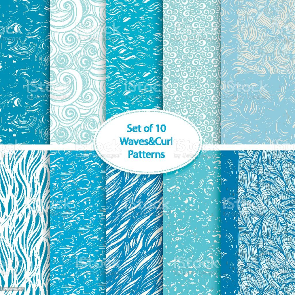 Set of 10 seamless waves and curls backgrounds vector art illustration