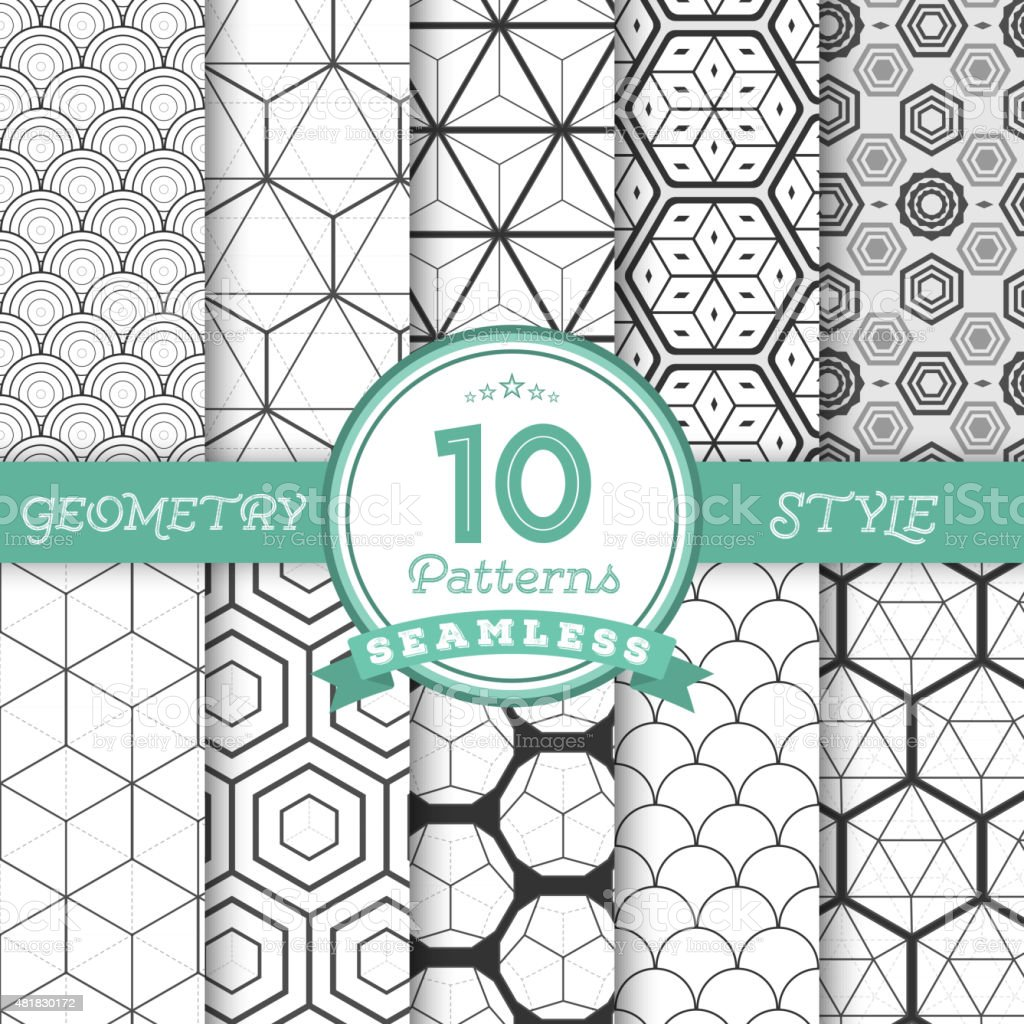 Set of 10 Vector Seamless Geometric Lines Pattern Backgrounds fo vector art illustration