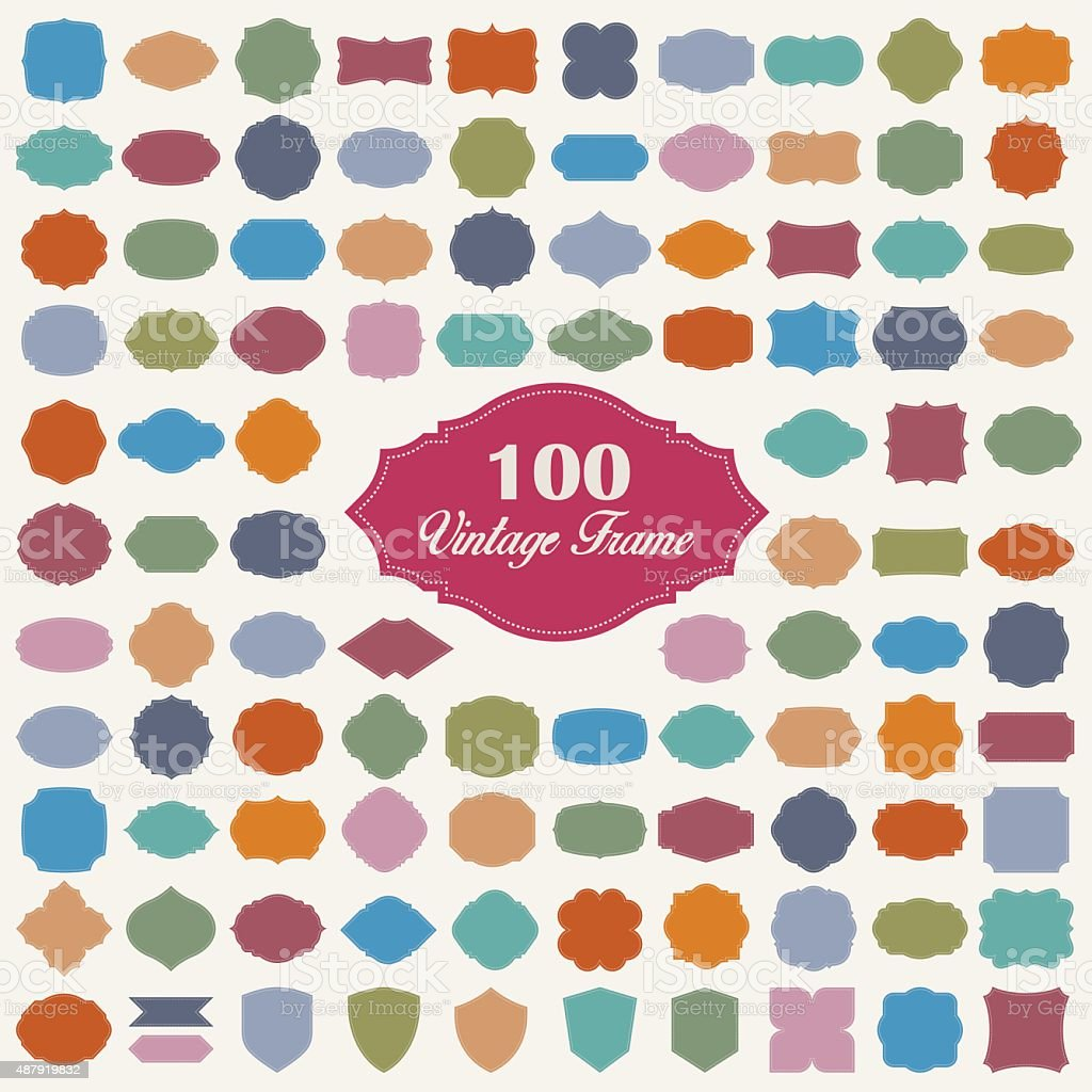Set of 100 blank colorful vintage frame vector art illustration