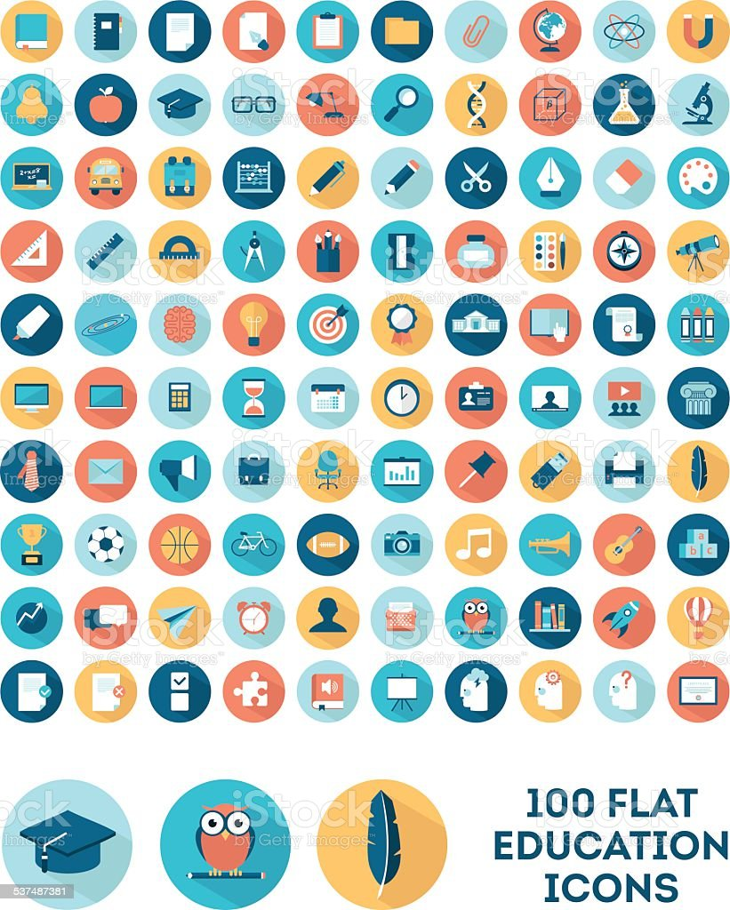 set of 100 flat style education icons vector art illustration
