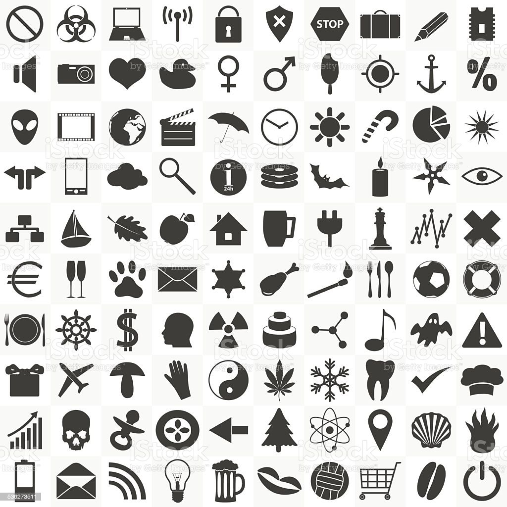set of 100 general various icons for your use eps10 vector art illustration