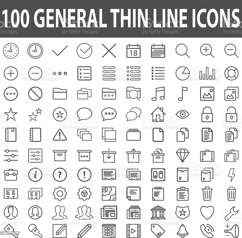 Set of 100 Thin Line Stroke General Icons Vector Illustration vector art illustration
