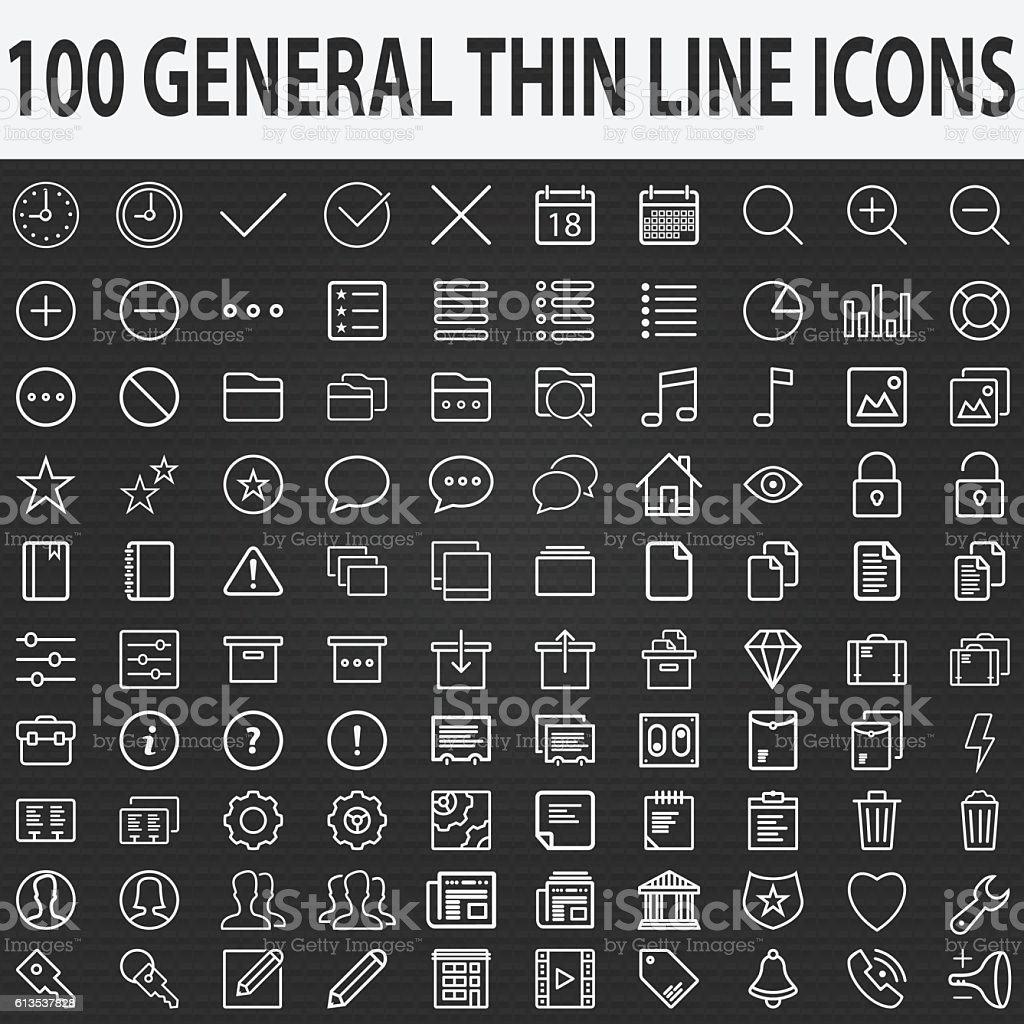 Set of 100 Thin Line Stroke General Icons Vector Illustration vector art illustration