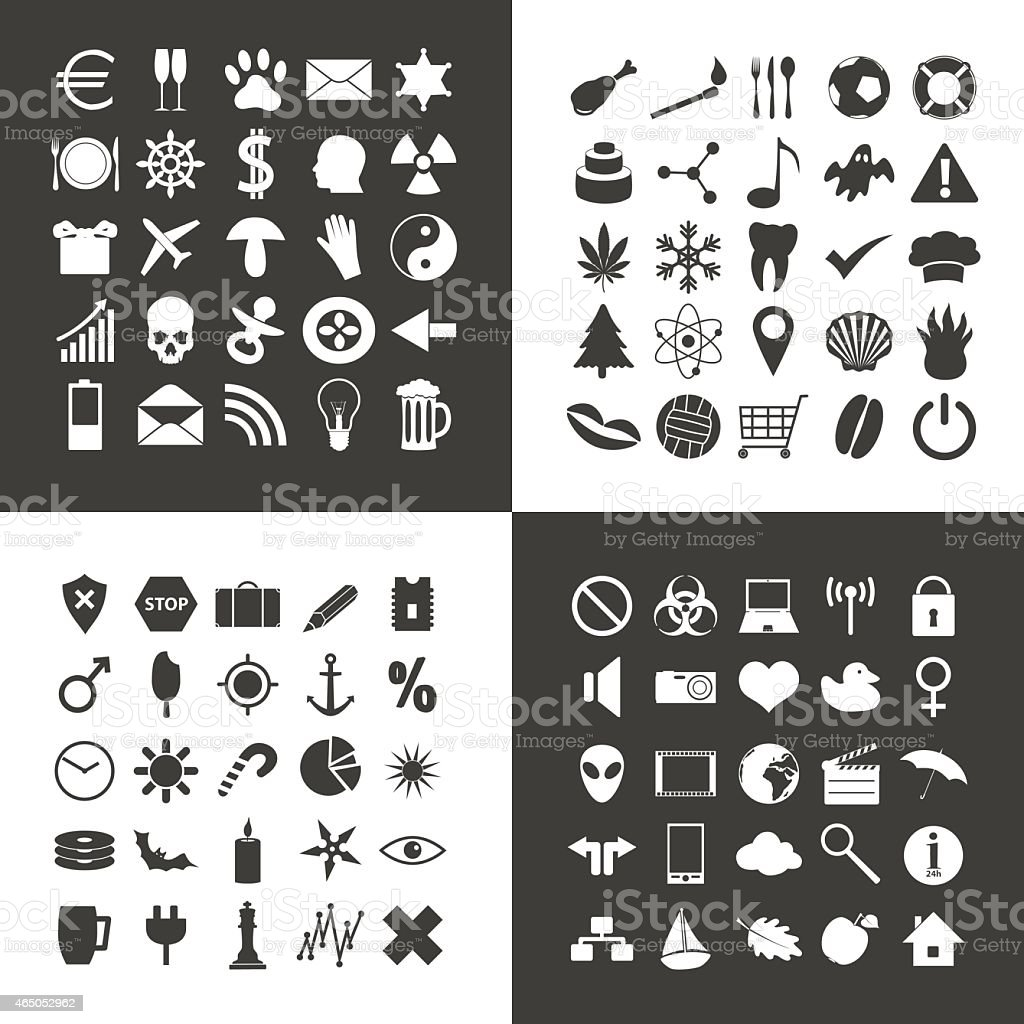 set of 100 various general icons for your use eps10 vector art illustration