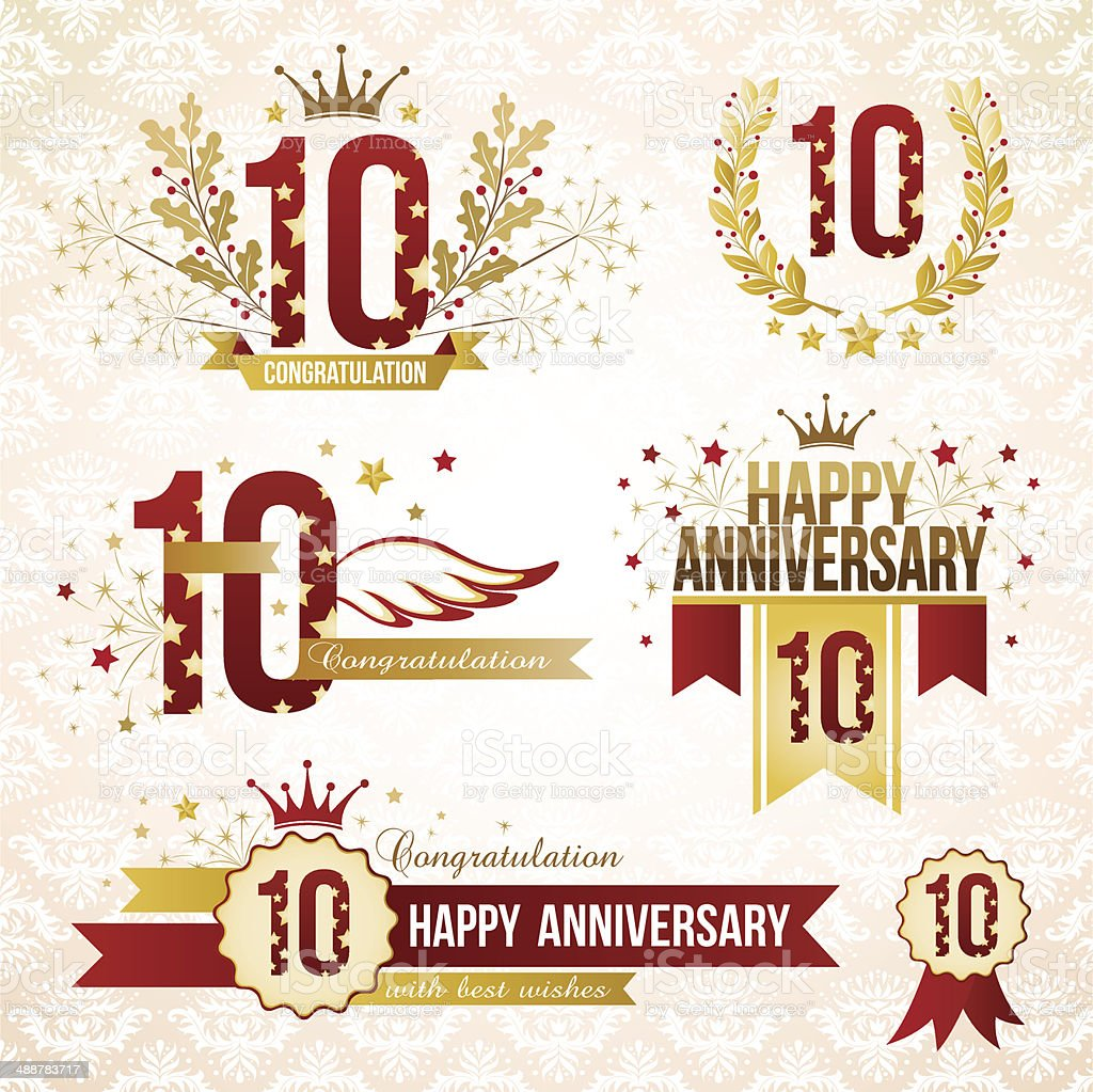 Set of 10th anniversary emblems. vector art illustration