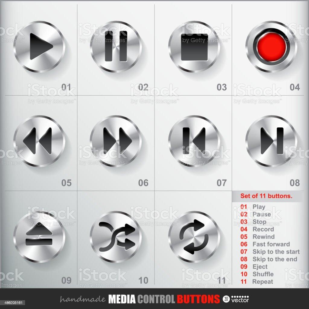 Set of 11 Circle Media Stop Button. royalty-free stock vector art