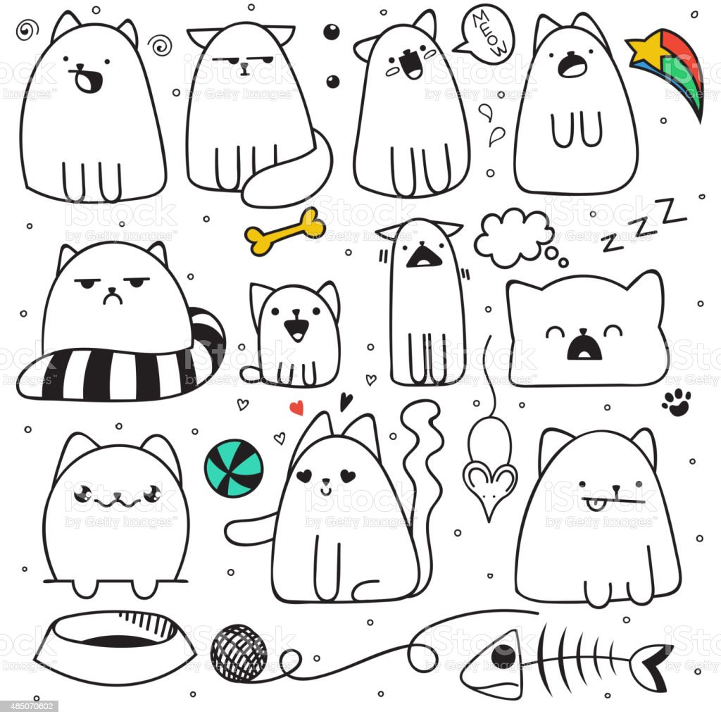 Set of 11 sticker doodle cats different emotions. Cat handmade vector art illustration