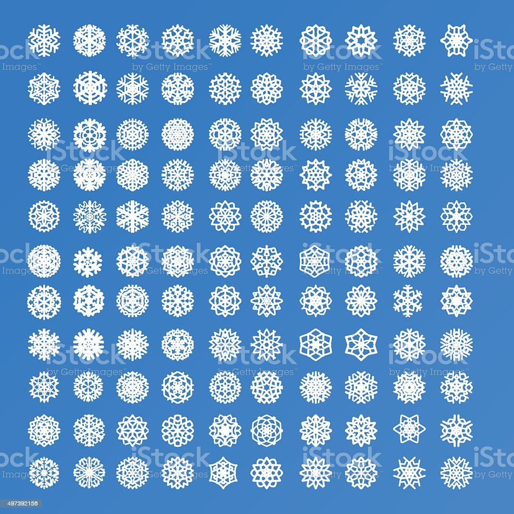 Set of 110 different isolated exclusive various white snowflakes vector art illustration